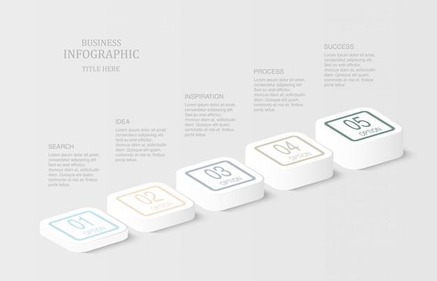 Infografica 3d quadrata o pulsante.