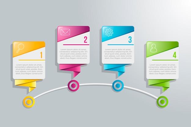 Infografica a 4 passaggi con design e testo colorati
