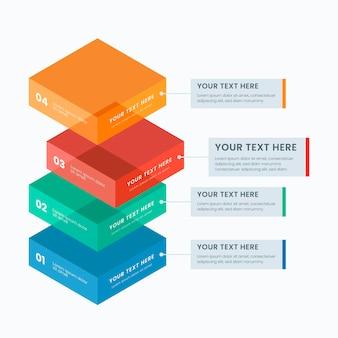 Infografica a blocchi di blocchi tridimensionali