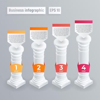 Infografica a colonna. isometrico di vettore di pilastro infographic per il web design