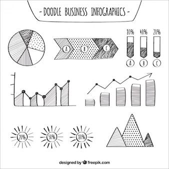 Infografica affari disegnati a mano