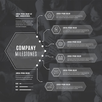 Infografica affari monocromatici