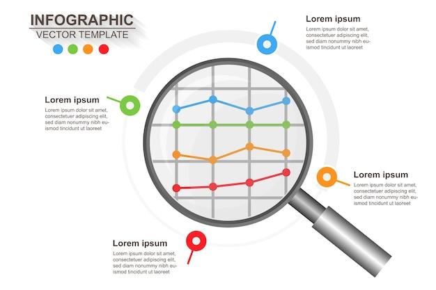 Infografica astratta con una lente di ingrandimento