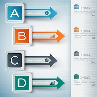 Infografica astratta di affari con quattro frecce
