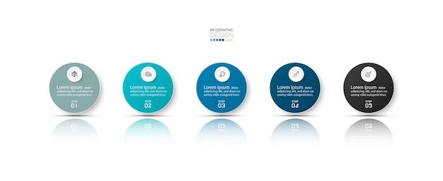 Infografica aziendale con 5 passaggi.