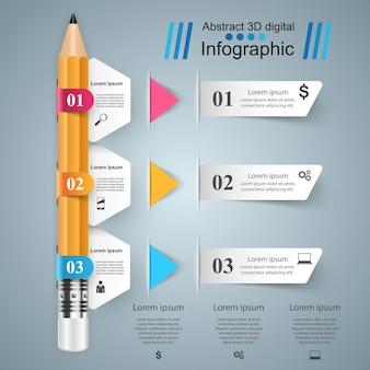 Infografica aziendale. icona matita.