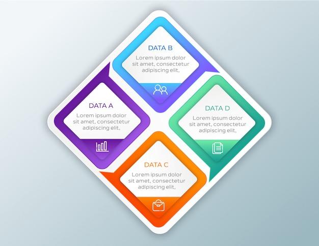 Infografica aziendale moderna con 4 opzioni di dati