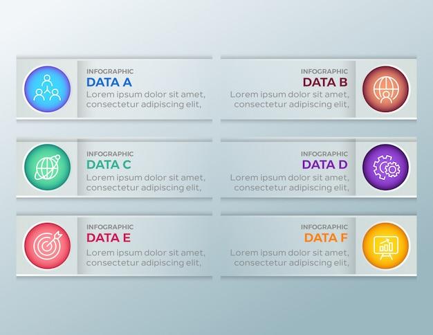 Infografica aziendale moderna con 6 opzioni di dati