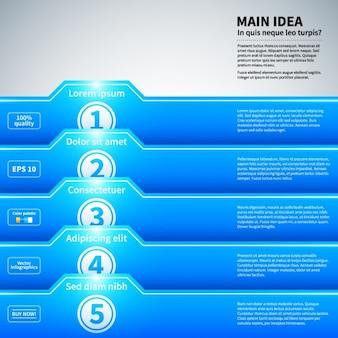 Infografica blu con stile le cartelle e la struttura lucida