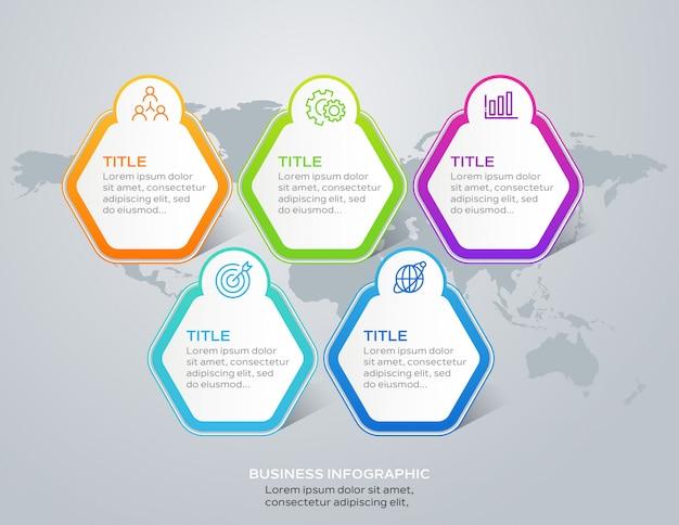 Infografica business moderno con 5 opzioni o passaggi