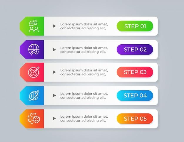 Infografica business moderno con 5 passaggi di opzioni