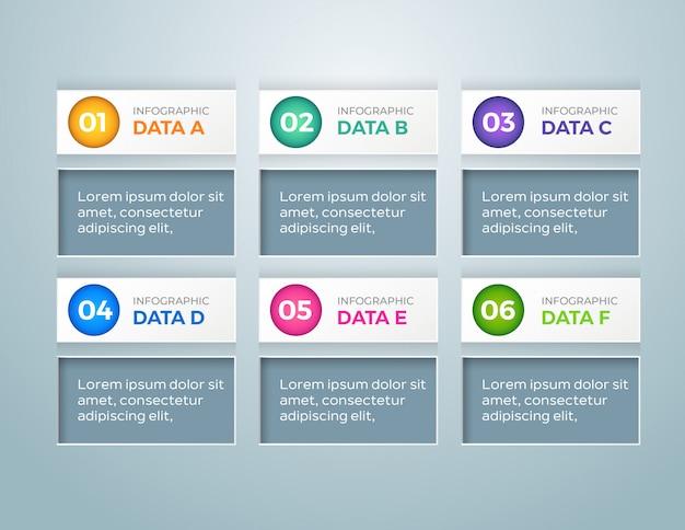 Infografica business moderno con 6 passaggi di opzioni