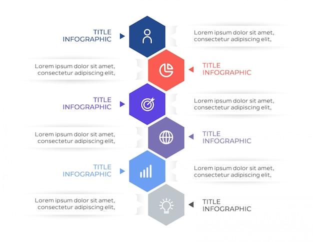 Infografica business moderno con 6 passaggi