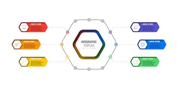 Infografica business moderno con elementi realistici. modello di report aziendale
