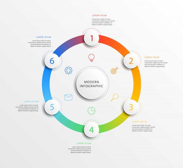 Infografica business moderno con elementi rotondi realistici. modello di relazione aziendale con icone di marketing linea piatta