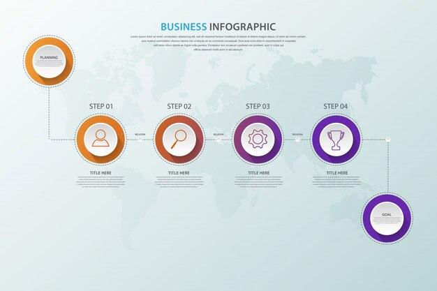Infografica business moderno con opzione in 4 passaggi