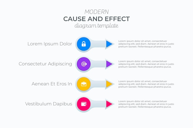 Infografica causa ed effetto piatta