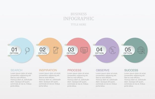 Infografica cinque numeri e cerchi di elementi