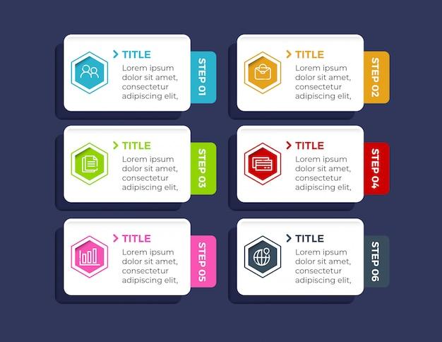 Infografica colorata con 6 passaggi di opzioni in stile piano