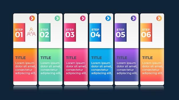 Infografica colorata con 6 passaggi di opzioni