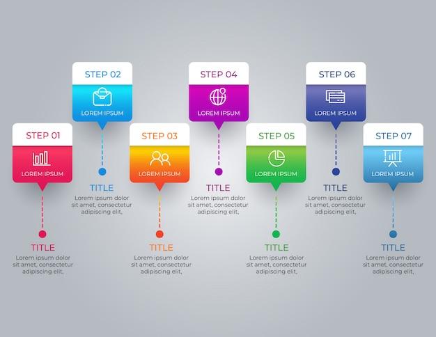 Infografica colorata con 7 passaggi di opzioni