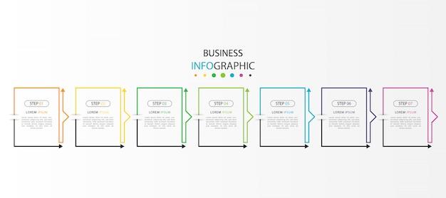 Infografica colorata con 7 passaggi o opzioni