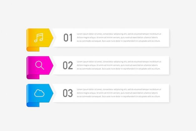 Infografica con 3 opzioni, passaggi o processi.
