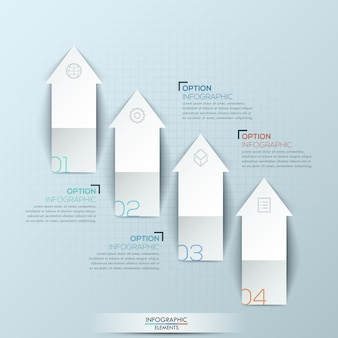 Infografica con 4 frecce numerate rivolte verso l'alto e caselle di testo