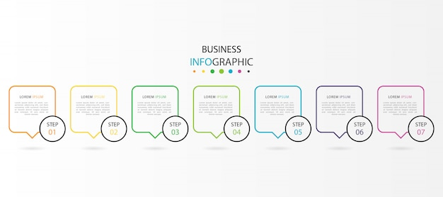Infografica con 7 passaggi o opzioni