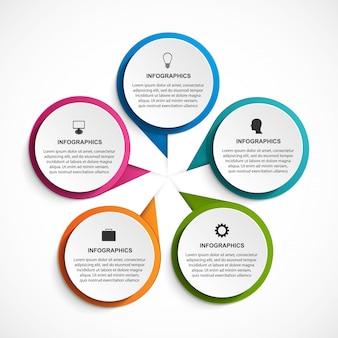 Infografica con cinque opzioni per presentazioni aziendali.