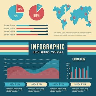 Infografica con colori retrò e mappa del mondo