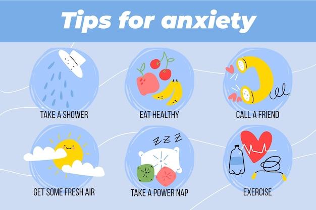 Infografica con diversi suggerimenti per l'ansia