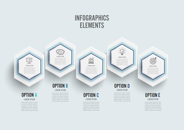 Infografica con etichetta di carta 3d