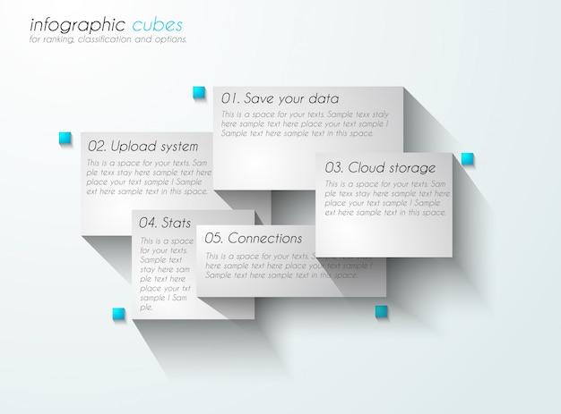 Infografica con etichette di carta.