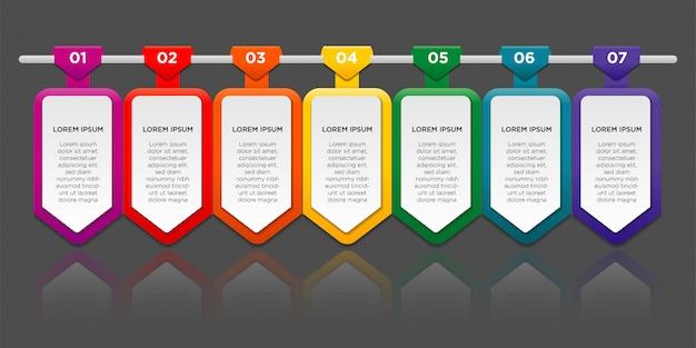 Infografica con gradiente e effetto ombra su carta 7 opzioni o passaggi. concetto di business infografica.