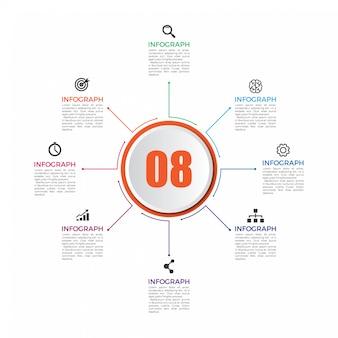 Infografica con icone e 8 numeri opzioni o passaggi