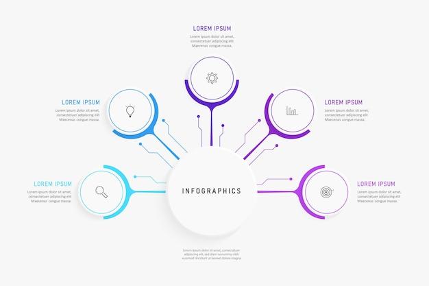 Infografica con icone e opzioni o passaggi