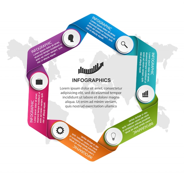 Infografica con nastri curvi in un cerchio.