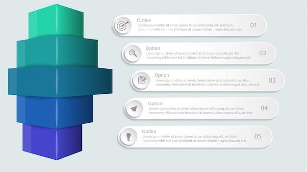 Infografica con opzioni o passaggio per layout del flusso di lavoro, diagramma, opzioni numeriche, opzioni di incremento, web design e presentazioni