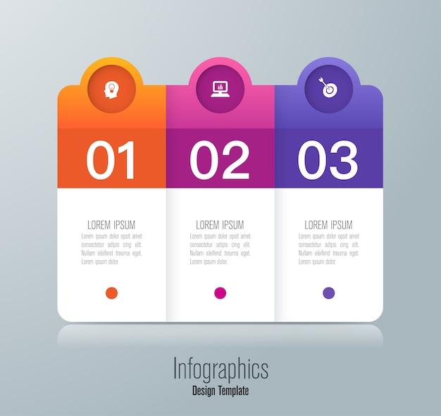 Infografica con passaggi e opzioni