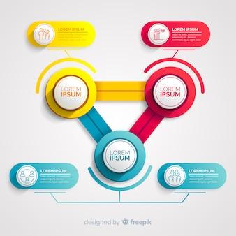 Infografica con passaggio e opzioni