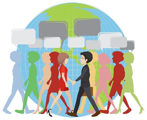 Infografica con persone che camminano sulla terra