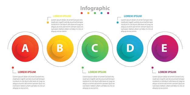 Infografica con presentazione in 5 passaggi, infografica con cerchio lineare