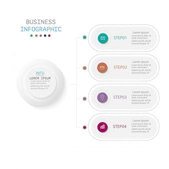 Infografica con quattro passaggi o opzioni, flusso di lavoro, diagramma di processo