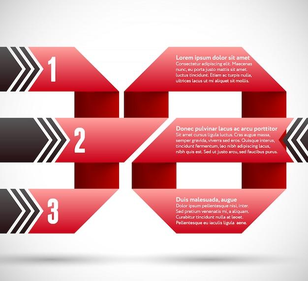 Infografica con spirale di nastro e puntatori
