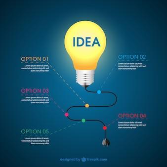 Infografica con una lampadina