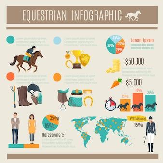Infografica decorativo a colori su corsa e fantino equestre