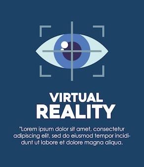 Infografica del design di realtà virtuale con l'icona di rilevamento degli occhi