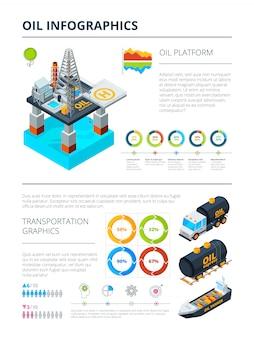 Infografica del tema di produzione dell'industria petrolifera