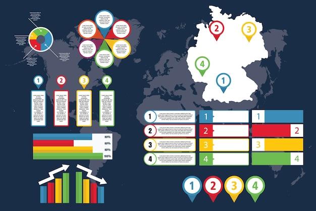 Infografica della germania con mappa per affari e presentazione